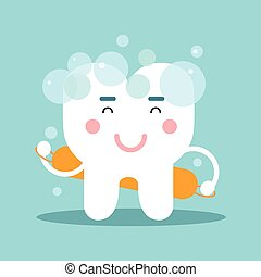 Cute cartoon tooth character washing himself, dental vector Illustration for kids