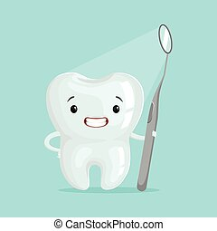 Cute cartoon tooth character with dental tool, childrens dentistry concept vector Illustration