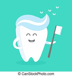 Cute cartoon tooth character with face, eyes and hands. The...