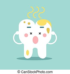 Cute cartoon tooth character with remnants of food, dental vector Illustration for kids
