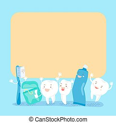 cute cartoon tooth hold billboard - cute cartoon tooth and...