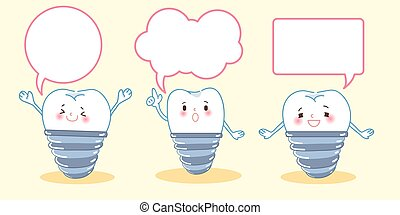 tooth implant with speech bubble