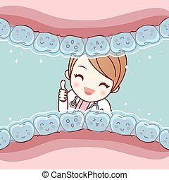cute cartoon tooth invisible braces with dentist doctor,...