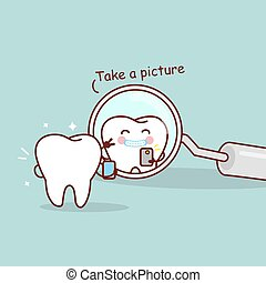 cute cartoon tooth take a picture in the dental mirror, great for health dental care concept