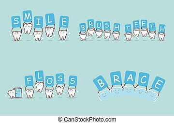 cute cartoon tooth take billboard and smile happily
