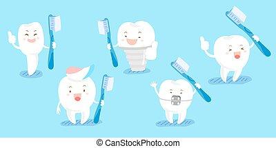 cute cartoon tooth take brush