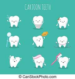 Cute cartoon tooth vector set. Baby teeth health and hygiene icons