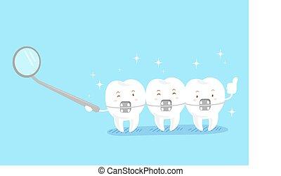 cute cartoon tooth wear brace on the blue background