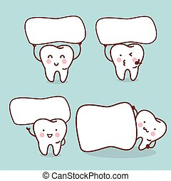 cute cartoon tooth with billboard