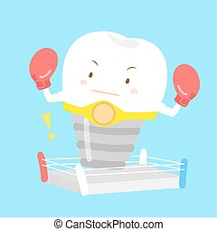 cute cartoon tooth with boxing