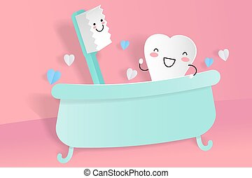 cute cartoon tooth with brush