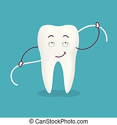 Cute Cartoon Tooth With Dental Floss Isolated On A Background. Vector Illustration.
