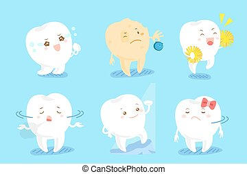 cute cartoon tooth with different emotion on blue background