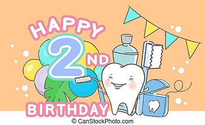 tooth with happy birthday