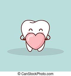 cute cartoon tooth with love