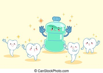 cartoon tooth with mouthwash