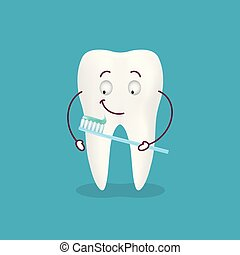 Cute Cartoon Tooth With Toothbrush And Paste Isolated On A Background. Vector Illustration.