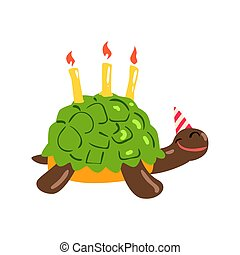 Cute cartoon tortoise Happy Birthday colorful vector Illustration
