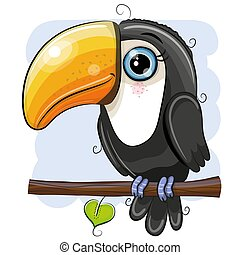 Cartoon Toucan is sitting on a branch