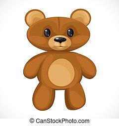 Cute cartoon toy teddy bear isolated on white background