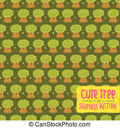 Cute cartoon tree oak seamless pattern.