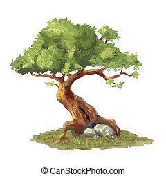 Cute cartoon tree on grass, game art element