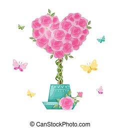 Cute cartoon tree topiary of rose flowers. Vector ...