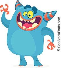 Cute cartoon troll character. Vector monster character for Halloween