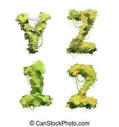 Cute cartoon tropical vines and bushes font on white, Y Z 1 2 glyphs