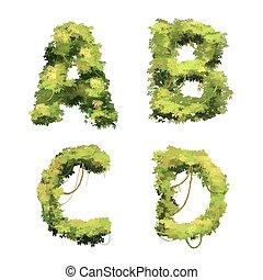 Cute cartoon tropical vines and bushes font on white, A B C D glyphs