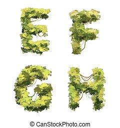 Cute cartoon tropical vines and bushes font on white, E F G H glyphs