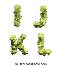 Cute cartoon tropical vines and bushes font on white, I J K L glyphs