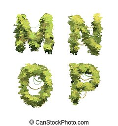 Cute cartoon tropical vines and bushes font on white, M N O P glyphs