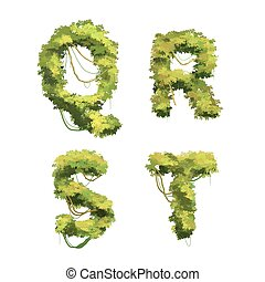 Cute cartoon tropical vines and bushes font on white, Q R S T glyphs