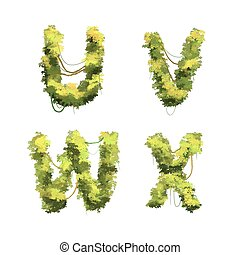 Cute cartoon tropical vines and bushes font on white, U V W X glyphs