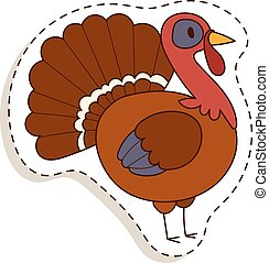 Cute cartoon turkey vector illustration