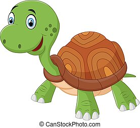 Cute cartoon turtle, isolated vecto