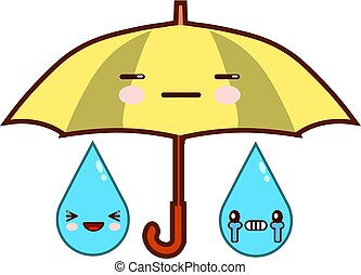 Cute cartoon umbrella with face. Rainfall. Emoji isolated on white background Flat design Vector Illustration