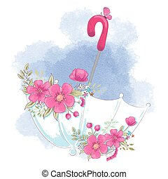 Cute cartoon umbrella with flowers. Vector illustration