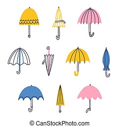 Cute cartoon umbrellas vector set