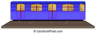 Cute cartoon underground train Isolated on the white background. Vector illustration.