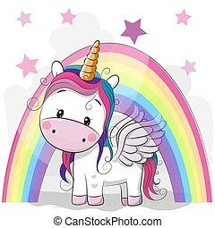 Cute Cartoon Unicorn and rainbow on a stars background