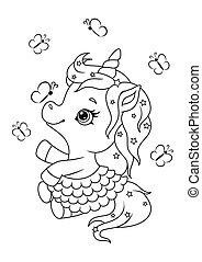 Cute cartoon unicorn coloring page