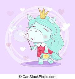 Cute cartoon unicorn girl with flowers blowing soap bubbles. Vector illustration