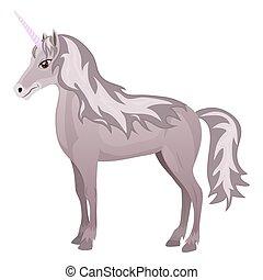 Cute cartoon unicorn Isolated on the white background. Vector illustration.