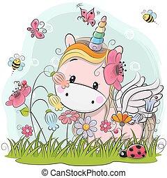 Cute Cartoon Unicorn on a meadow - Cute Cartoon Kitt Unicorn...