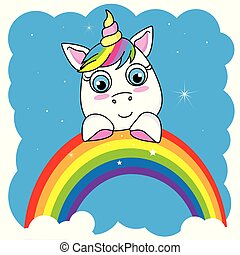 Cute cartoon unicorn on a rainbow