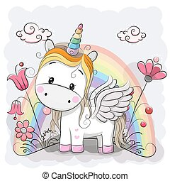 Cute Cartoon Unicorn on the meadow - Cute Cartoon Unicorn...