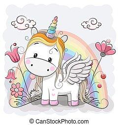 Cute Cartoon Unicorn on the meadow - Cute Cartoon Unicorn...