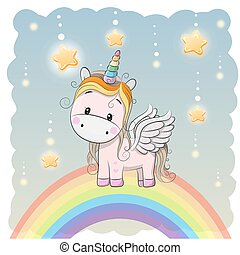 Cute Cartoon Unicorn on the rainbow